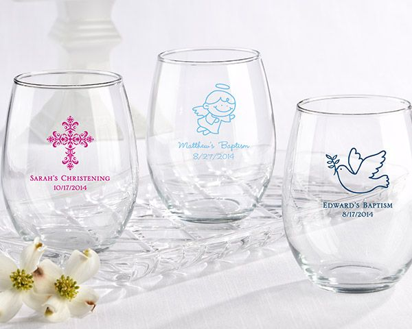 Baby Shower Favors Stemless Wine Glasses ~ Personalized stemless wine glass oz religious