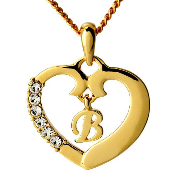 Initial In Heart Pendant Necklace 18k Gold Plated Jewelry