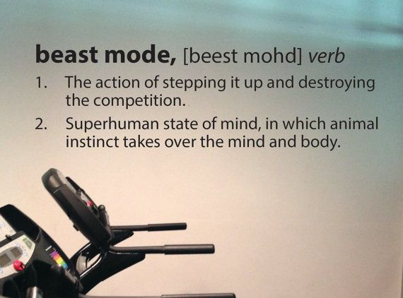 Beast Mode definition!    -Great for workout rooms, home gym rooms, treadmill rooms, locker rooms, etc!  -Installs in less than 15 minutes  -Comes