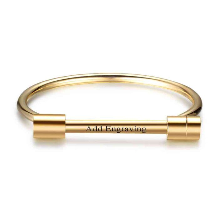 FATHERS DAY SALE! 10% off + a Gift with your purchase of AU$80 or more + postage is included to most locations Worldwide! Voucher Code NO1DAD (T&C's Apply) >>>  Personalised Barrel Bar Bangle - Gold Stainless Steel