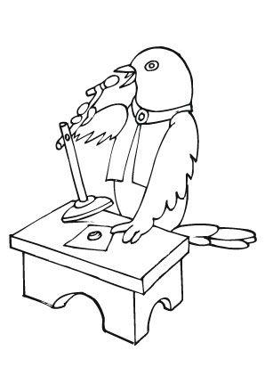 Ausmalbild Vogel beim Singen zum Ausmalen #Ausmalbilder