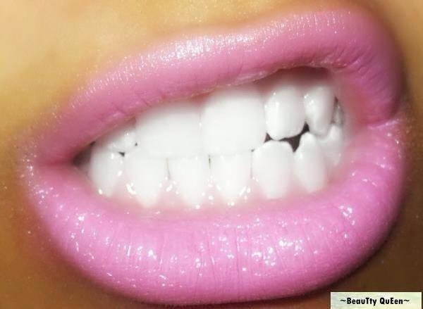 Pink Lipstick & White Teeth