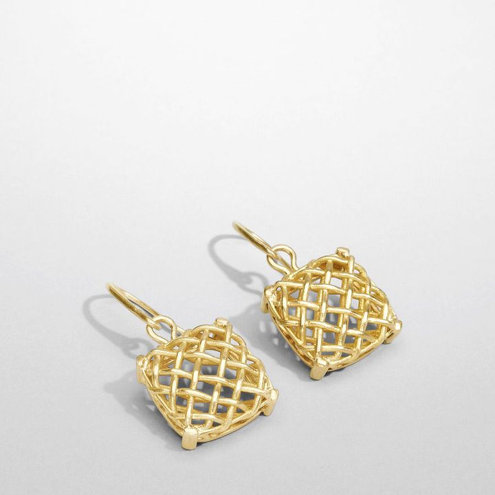 Yellow gold grid pepita earring Sold Out thestylecure.com