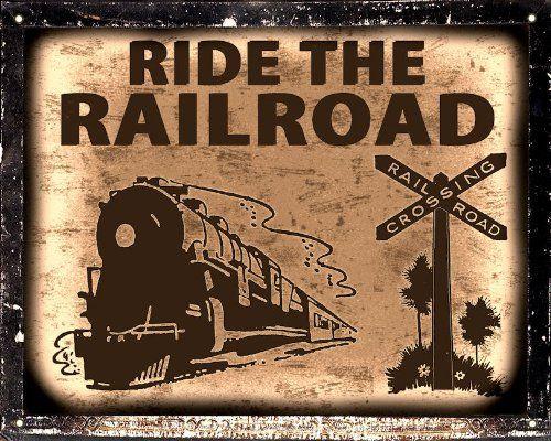TRAIN lo otive SIGN railroad vintage kids room decor art