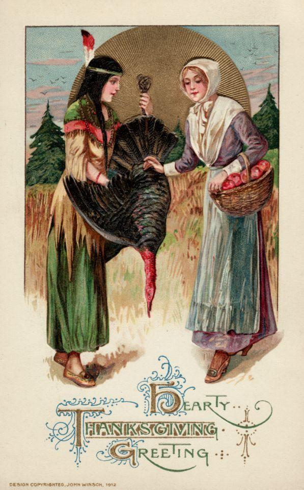 Aprox. 1912 — Una postal con una nativa norteamericana regalando un pavo a una peregrina para el primer banquete de Acción de Gracias — Imagen de © Trolley Dodger / Corbis