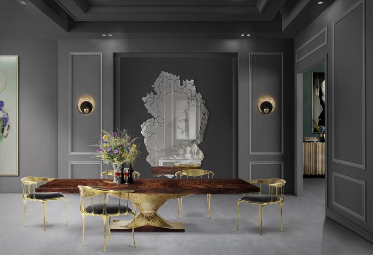 Metamorphosis Dining Table's surface is made in walnut root veneer and includes special textured details that represent a fossil.