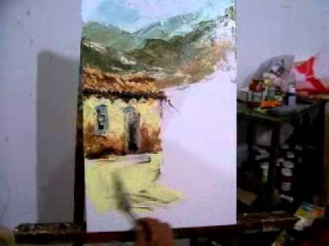 Video aula curso Pintura em tela com espatula part 1
