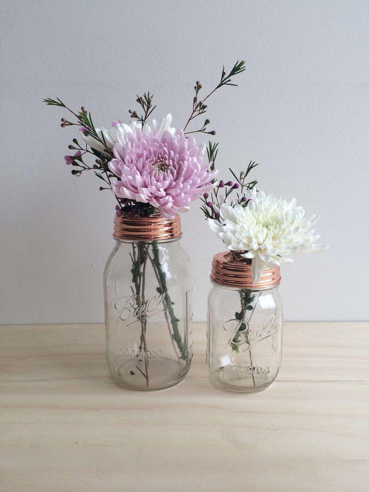 Copper Ball Mason Flower Jar - 500ml - Rainy Sunday