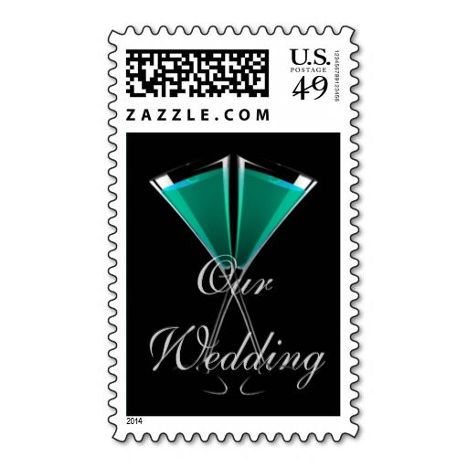 """Our Wedding"" Champagne Glasses - Light Teal Postage"