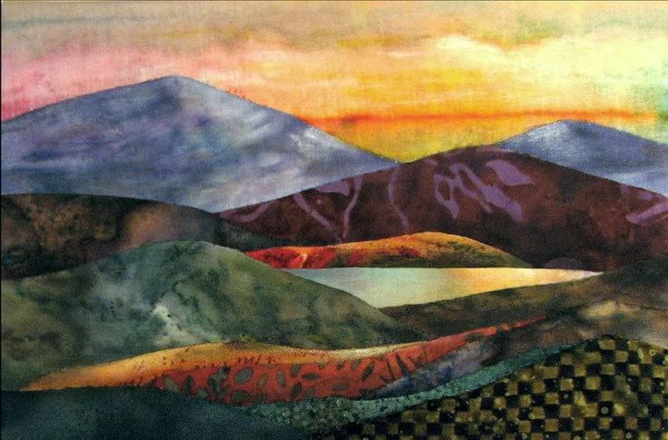 excellent color choices in this landscape quilt -- not sure but it looks like Jo Diggs work