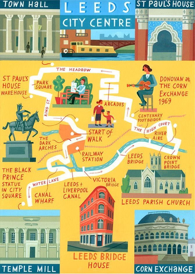 Leeds map - 'Walk of the Month' - The Daily Telegraph - Acrylic on paper - John Montgomery