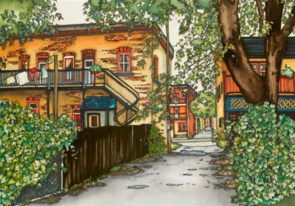 Renée Bovet :: peinture sur soie    This artist can capture perfectly and vividly the beauty of Montreal; i love all her work!
