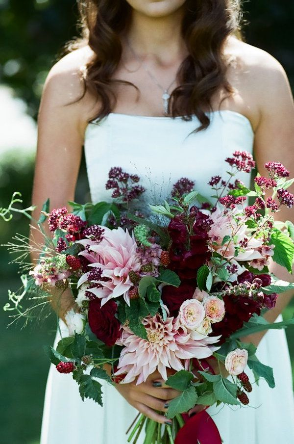 Moody, jewel-toned bridal bouquet with blush dahlias and burgundy ranunculus | Decadent Dessert Wedding Inspiration | photo by Heather Mayer Photography
