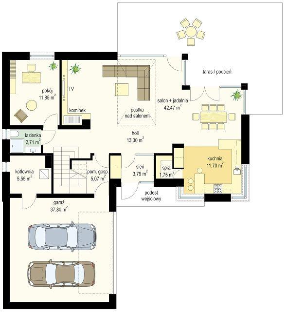 Projekt domu Viking 5 - rzut parteru