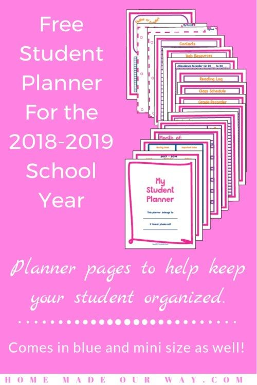2018 - 2019 Student Planner is Available for Free in Pink and Blue