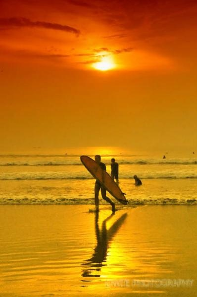 Surfing Kuta Beach, Bali, at sunset- AMAZING!  ✯ Bali Floating Leaf Eco-Retreat ✯ http://balifloatingleaf.com/ ✯