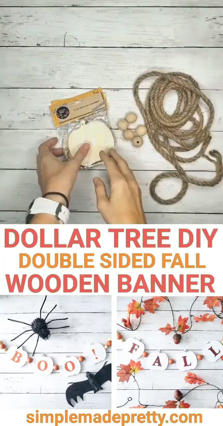 Dollar Tree DIY Fall Banner, Halloween Banner, Wooden Pumpkins