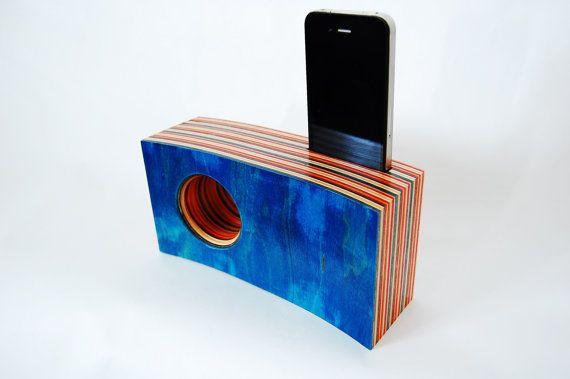 Christmas Gift Idea... Iphone Speaker/Amplifier made from Reclaimed Skateboards