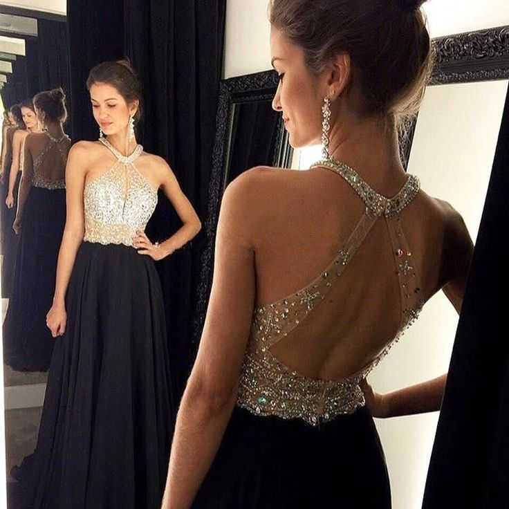 2016 Sexy Long Backless Prom Dresses Black Chiffon Women Fashion Gown Beading Bodice Halter Chiffon