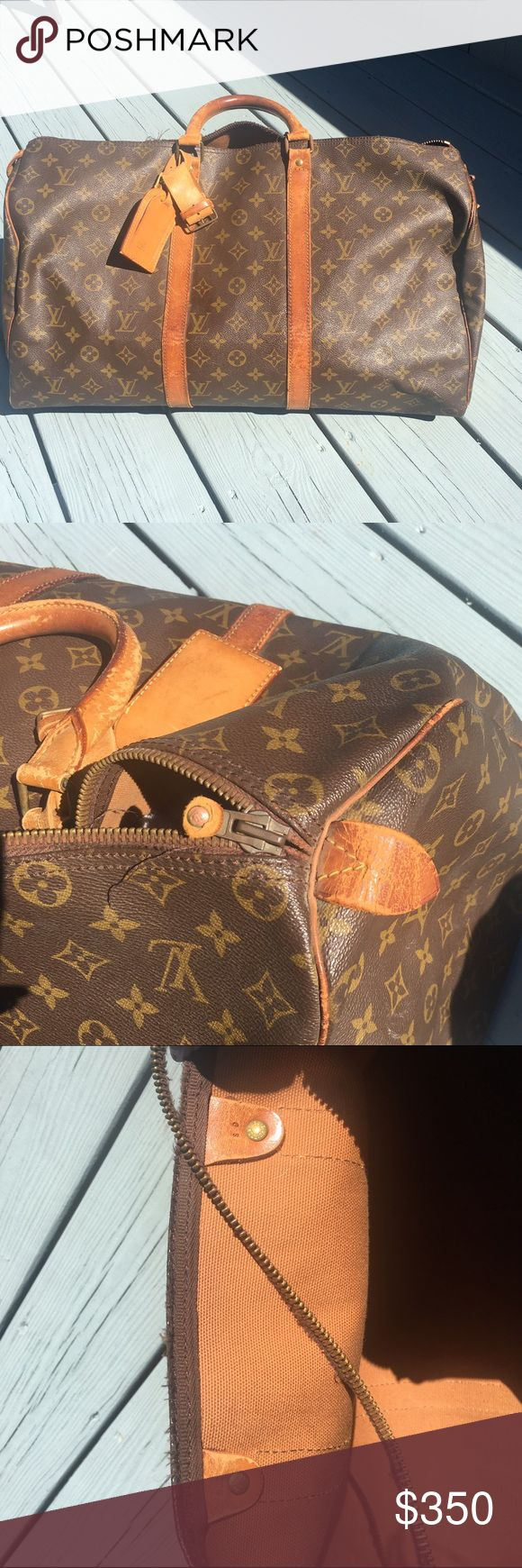 Vintage Louis Vuitton Keepall 45! (80's) Sad to see this beauty go. As you can see the entire zipper will need to be replaced. This bag does need some love and unfortunately i don't have the time. The inside is in near perfect condition with no spots or stains. Feel free to ask any questions before you purchase! ❤️❤️❤️ Louis Vuitton Bags Travel Bags