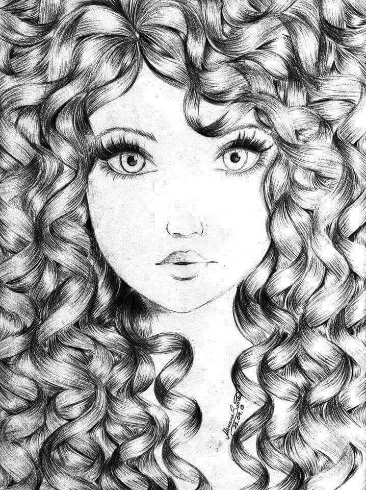 Рисованные картинки девочек с кудрями