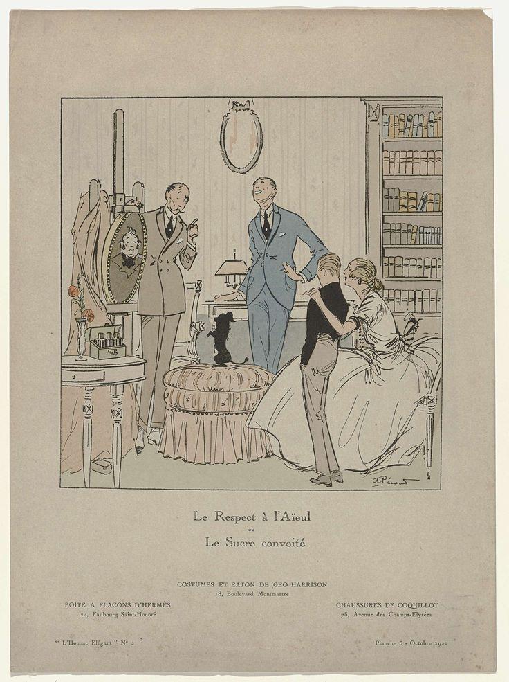 Anonymous | L'Homme Elégant No.2, Octobre 1921, Pl. 3 : Le Respect à l'Aieul...., Anonymous, 1921 | Twee mannen staan bij een portret op een schildersezel. Kostuums en 'eaton' van Geo Harrison. Op een bijzettafel een doos met flacons van Hermès. Schoenen van Coquillot. Een jongen en zijn moeder luisteren naar wat de man te zeggen heeft. Op de poef zit een hondje op de achterpoten. Volgens het onderschrift gaat het hier over respect voor de voorouders of 'Le sucre convoité'. Prent uit het…