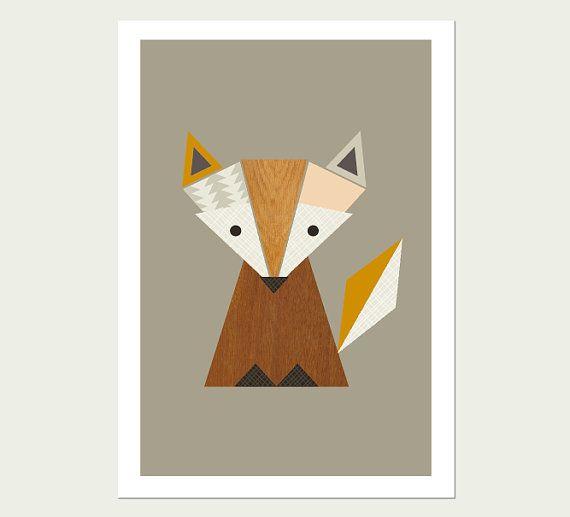 Little Fox Nursery Art, Modern Kids Wall Art, Modern Nursery Decor, Kids Room Art, Fox Print, Woodland Print. on Etsy, $27.66 AUD