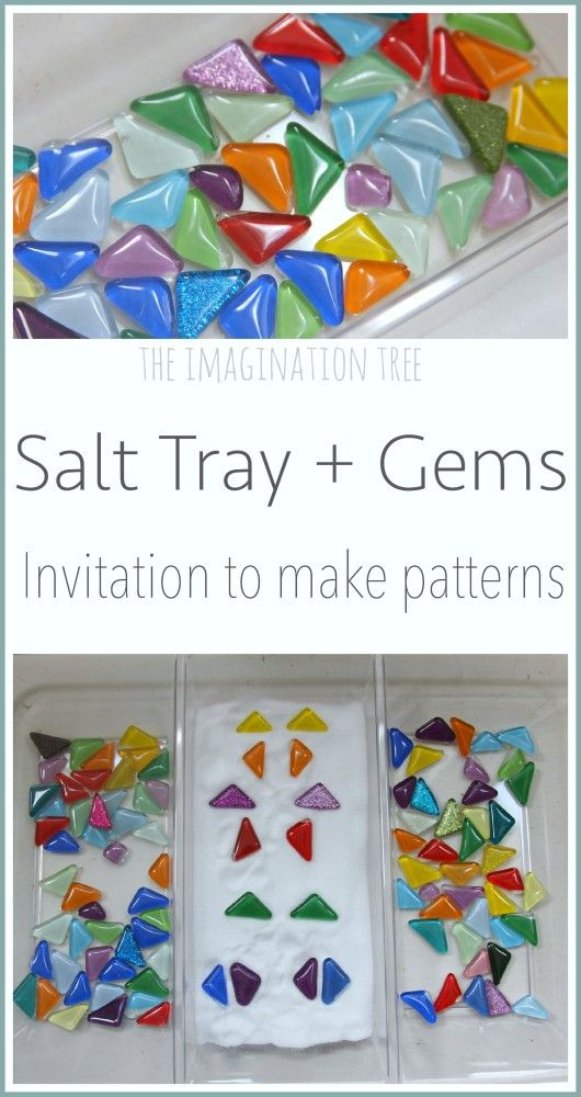 Enjoy some playful maths activities with this salt tray and gem pattern making provocation! Fine motor skills, patterning, counting and symmetry