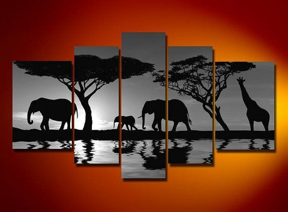 oil wall art African tree night elephants sun decoration Landscape Framed canvas oil painting 5pcs/set