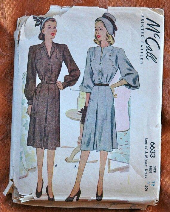 1940's McCall Dress Pattern - Bust 30 - UNCUT - no. 6633
