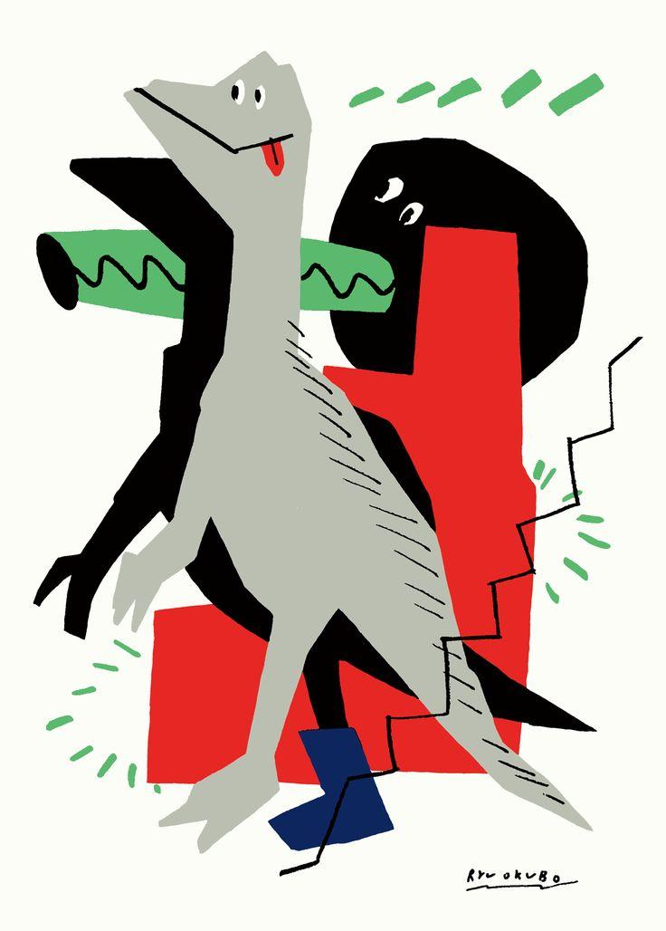 """大恐竜博 グループ展のための作品。2匹のラプトルと階段のような図形の構成。 今回描いた3枚の中では一番いい加減な作品です。構成も描きながら 考えました。この階段のような赤い図形はスターウォーズに登場する """"パワードロイド""""というキャラクターの側面にあったプリントを持っ てきました。だからなんだといった感じですが、きっとそんな気分が あったのでしょう。"""