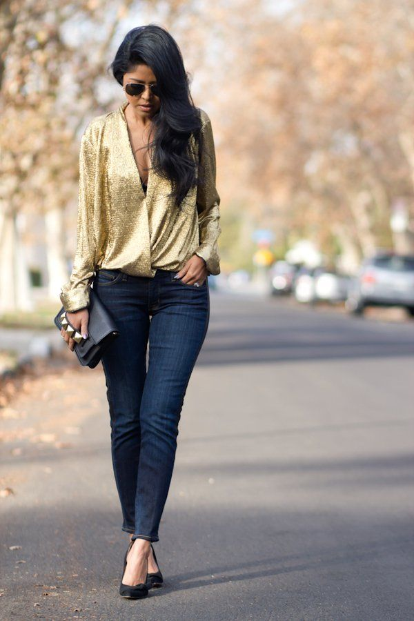 Add shimmering metallics to jeans to play up your casual look around the holidays.