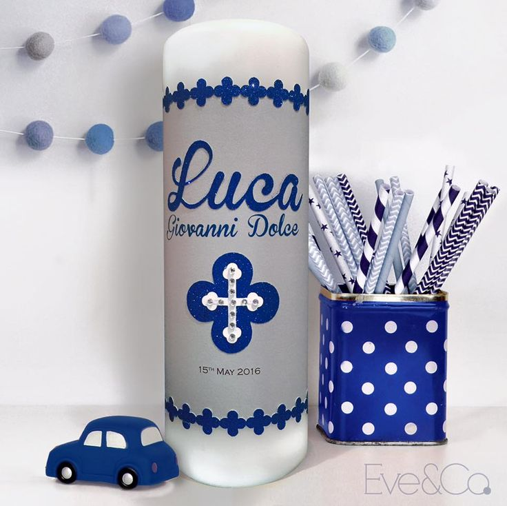 Sweet and simple #christeningcandle for Baby Luca to match his existing invitations for his baptism last Sunday💙