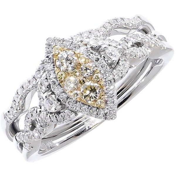 Pre-owned 14K White Gold Yellow White Diamond Marquise Ring ($849) ❤ liked on Polyvore featuring jewelry, rings, 14k ring, pre owned engagement rings, yellow engagement rings, round wedding rings and white gold diamond rings