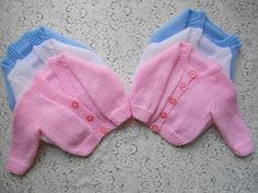 Knitting Pattern No.01 Micro Preemie - 3 Month Classic Raglan Round and V Neck Cardigan