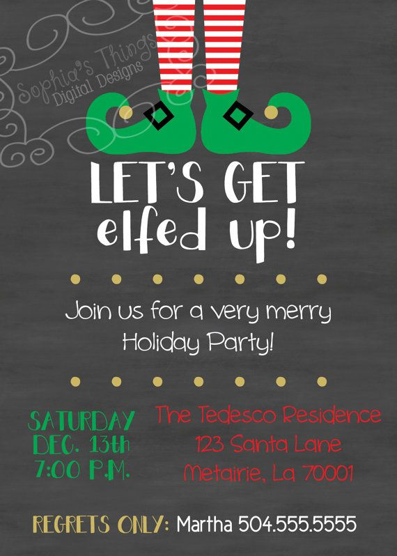 Funny Christmas Theme Party Ideas Part - 45: Christmas Party Invitation Letu0027s Get Elfed Up By SophiasThings