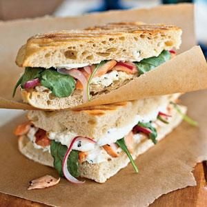 Grilled Smoked Salmon Panini with Red Onion Ribbons | MyRecipes.com