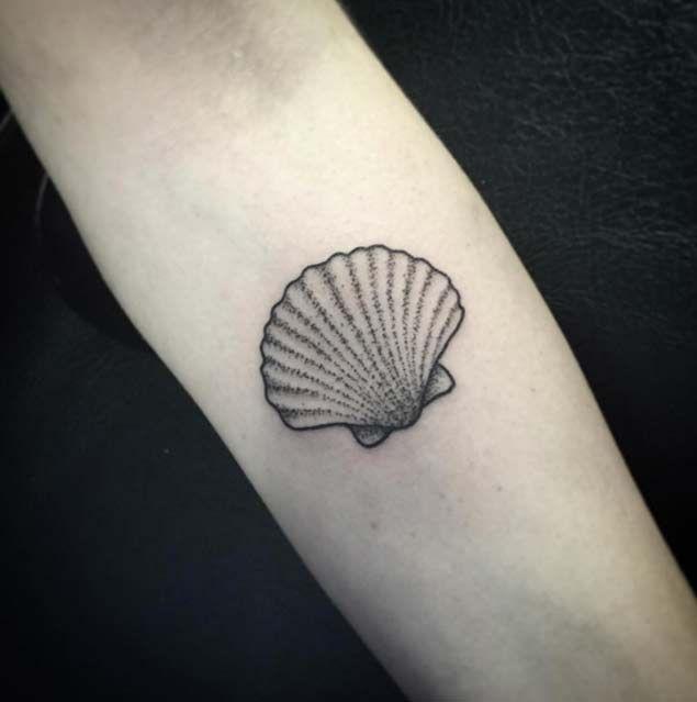 Dotwork sea shell tattoo