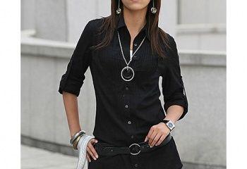 Черная офисная рубашка