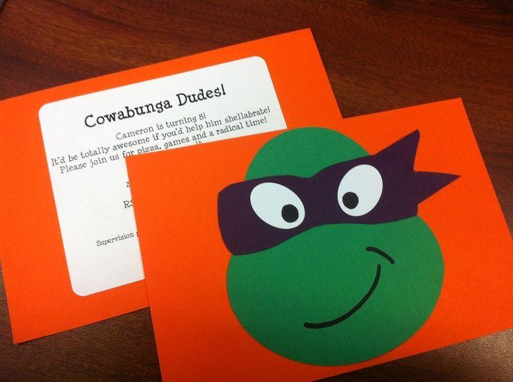 homemade ninja turtle invites | Teenage Mutant Ninja Turtles homemade invitations made ... | Card mak ...