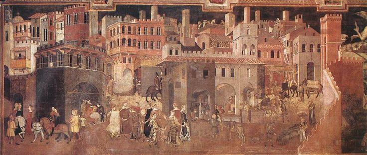Влияние на город доброго правления, фрагмент. Амброджо Лоренцетти