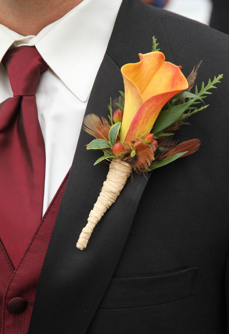 Wedding flowers- Grooms Boutonniere fall theme.