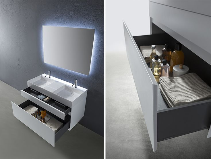 Graffio sinks with cabinet by Antonio Lupi