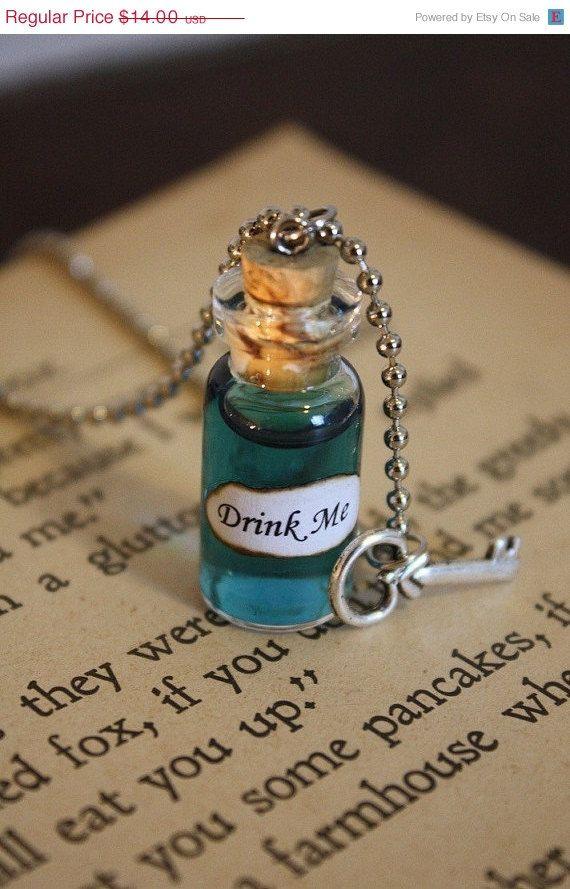 ON SALE Alice in Wonderland Drink Me Vial Necklace - Drink Me Necklace - Alice Costume - Halloween Jewelry on Etsy, $12.60
