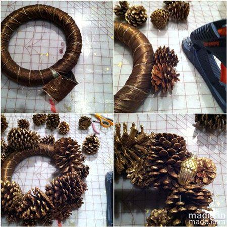 hacer corona de Navidad piñas pino