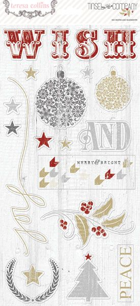 Teresa Collins Designs - Tinsel and Company Collection - Christmas - Die Cut Chipboard Stickers - Elements at Scrapbook.com