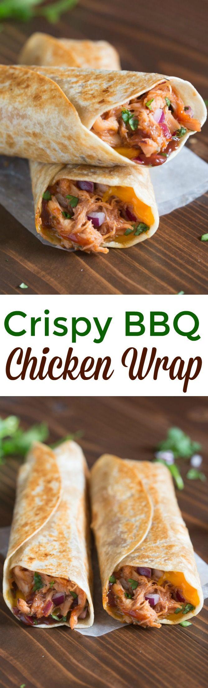 Crispy BBQ Chicken Wraps | tastesbetterfromscratch.com (Chicken)