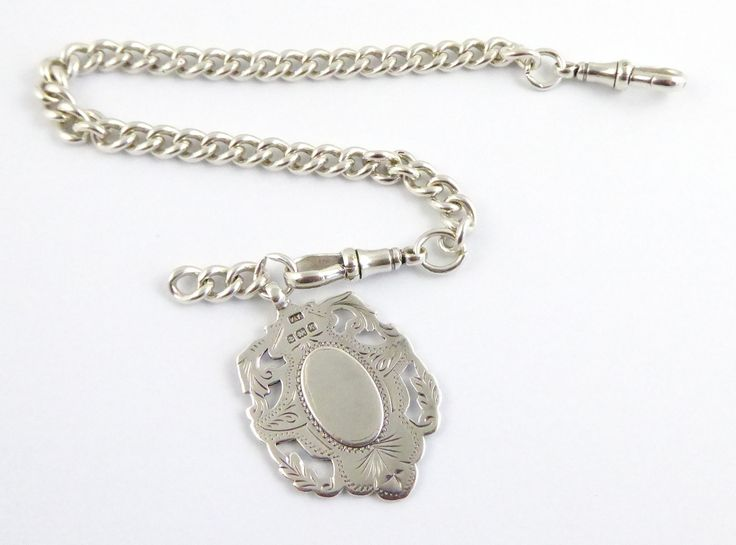 Antique Sterling Pocket Watch Chain with Sterling Silver 1906 Fob - The Collectors Bag
