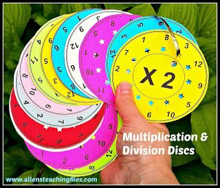 Cool idea!  From Mrs. Allen's Teaching Files: Multiplication & Division Discs {Giveaway}