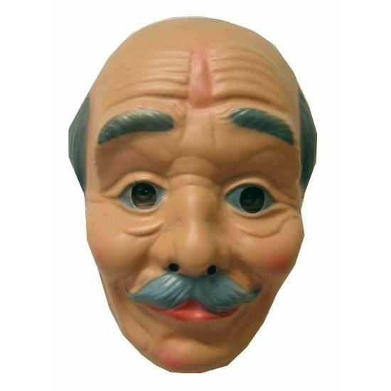 Opa masker kaal met snor. Kunststof masker voor een feestje of om uw abraham pop compleet te maken. Te bevestigen met een elastiekje achter de oren.